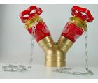 Robinet de prise double rainuré, avec bouchons, volants et chaînettes
